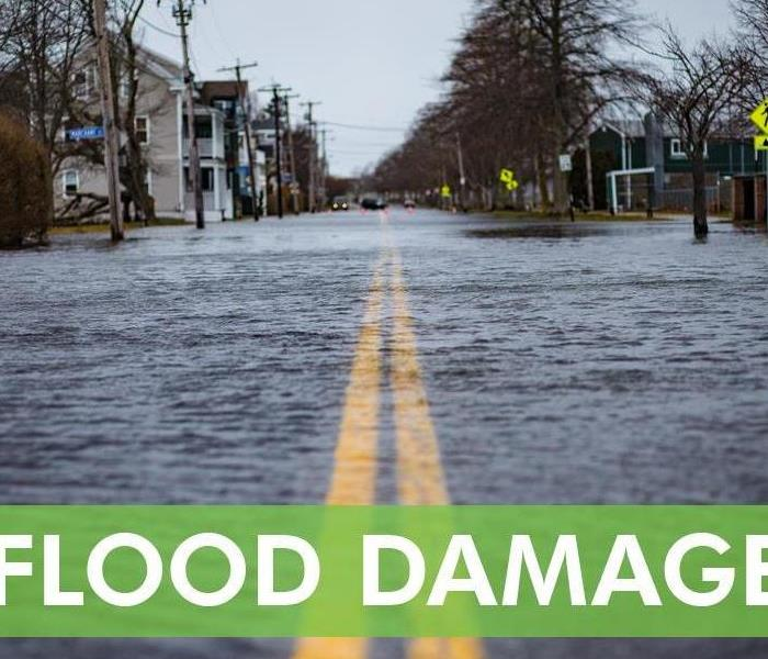 Flooded street in a residential area - Text in picture that says FLOOD DAMAGE